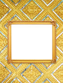пустой золотой кадр на тайском стиле будда стены — Стоковое фото