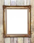 Zlatý rám na dřevo zeď pozadí — Stock fotografie