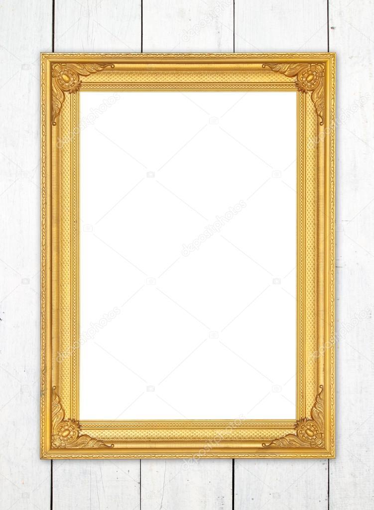 木墙上的空白金框 — 图库照片08geargodz
