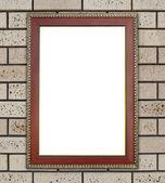 Wood frame on brick stone wall — Stock Photo
