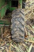 Large rear rubber tractor tire — Stock Photo