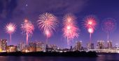 Fireworks celebrating over Tokyo cityscape at nigh — Stock Photo