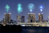 Fireworks celebrating over Tokyo cityscape at nigh — Stok fotoğraf
