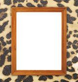 Blank wood frame on leopard texture  — Stockfoto