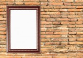 Blank wood frame on brick stone wall  — Fotografia Stock