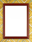 Wood frame on Buddha wall  — Stock fotografie