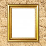 Golden frame on brick stone wall background — Stock Photo #58824357