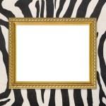 Golden frame with zebra texture background — Stockfoto #58842119