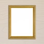 木製の壁の背景にゴールデン フレーム — ストック写真