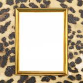Golden frame with leopard texture background — Stockfoto