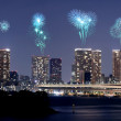 Fireworks celebrating over Odaiba, Tokyo cityscape at night — Stock Photo #60910791