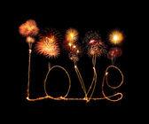 Love sparkler firework light alphabet  — Stockfoto