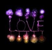Love sparkler firework light alphabet  — Foto de Stock