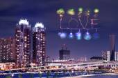 Love sparkle Fireworks celebrating over Odaiba, Japan — Stock Photo
