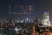 Love sparkle Fireworks celebrating over Tokyo cityscape at night — 图库照片
