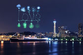 Love Fireworks celebrating over marina bay in Yokohama City — Stock Photo