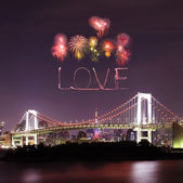 Love sparkle Fireworks celebrating over Tokyo Rainbow Bridge at — Stock Photo