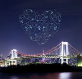 Heart sparkle Fireworks celebrating over Tokyo Rainbow Bridge at — Stock Photo