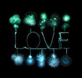 Love sparkler firework light alphabet  — Stock Photo