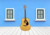 Gitarre mit Fenster auf Zement-Wand — Stockfoto