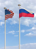 USA and Russian Flags — Stock Photo