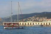 Sailboat in front of Trieste Port — Stock Photo