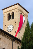 Bell Tower Hanged with Red and White Flag — Foto de Stock