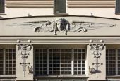 Detail of the Facade of an Art Nouveau Palace in Riga — Stockfoto