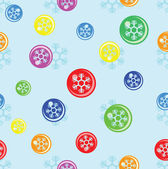 Seamless background of snowflake on colorful ball — Stockvektor