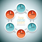 Hex Circle Point Infographic — Stockvektor