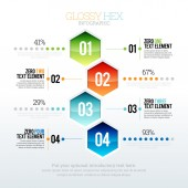 Glossy Hex Infographic — Stock Vector