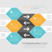 Zig Zag Hexagon Infographic — Stock vektor