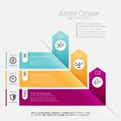 Arrow Crease Infographic — Stock Vector