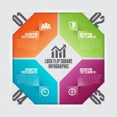 Lock Flip Square Infographic — ストックベクタ