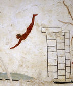 "Ancient Greek Fresco in Paestum, Italy, called the ""Tomb of the Diver"" — Стоковое фото"