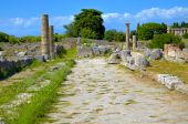 Ancient road in Paestum - Salerno, Italy — Stock Photo
