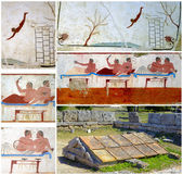 Collage Detail ancient Greek Fresco in Paestum, Italy, — Stock Photo