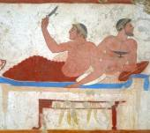 Detail ancient Greek Fresco in Paestum, Italy, — Stock Photo
