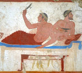 Detail ancient Greek Fresco in Paestum, Italy, — Stockfoto