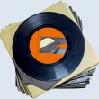 A pile of 45 RPM vinyl records used and dirty even if in good condition — Stock Photo #64328261