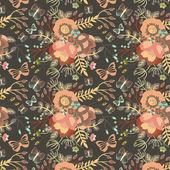 элегантный бесшовный фон с цветами — Cтоковый вектор