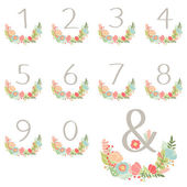 Numeric hand drawn wreath table card — Stock Vector