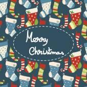 Christmas greeting card with socks — Stock Vector