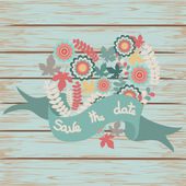 Save the date floral card on wooden background — Stockvektor