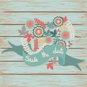 Save the date floral card on wooden background — Διανυσματικό Αρχείο