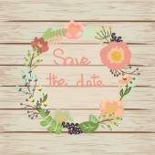 Save the date floral card on wooden background. — Vector de stock