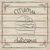 Delicious hamburger menu card on a wooden texture — Stock Vector
