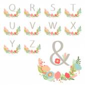 Hand drawn monogram wreath table card Q to Z. — Stock Vector