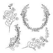 Wektor wieniec i wieńce laurowe. Okrągły kwiat wektor ramki. H — Wektor stockowy