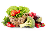 Full basket of ripe vegetables — Stock Photo